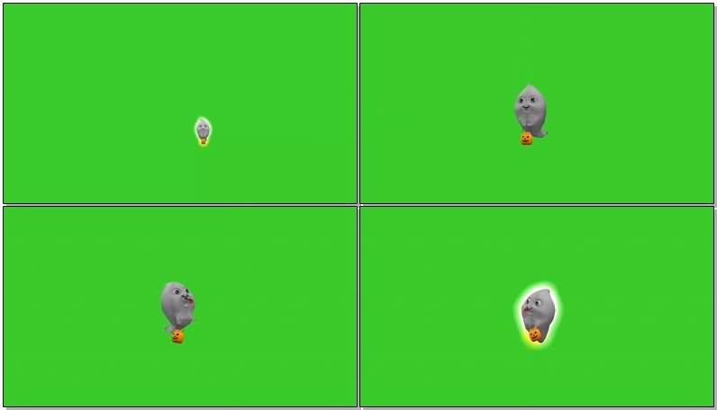 绿屏幕抠像白色鬼魂视频素材