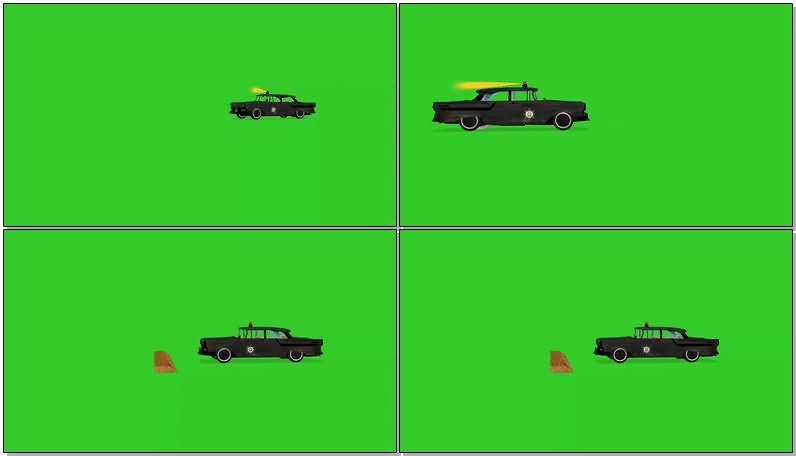 绿屏幕抠像警车视频素材