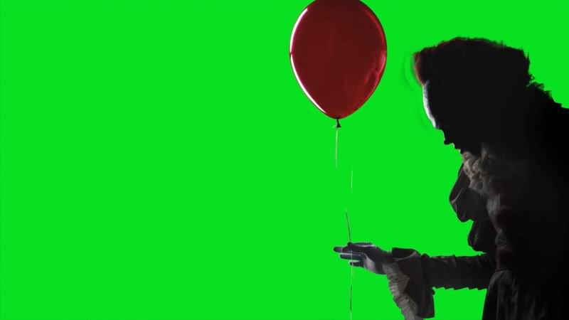 绿屏幕抠像拿气球的小丑视频素材