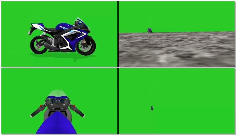 绿屏幕抠像摩托车跑车视频素材