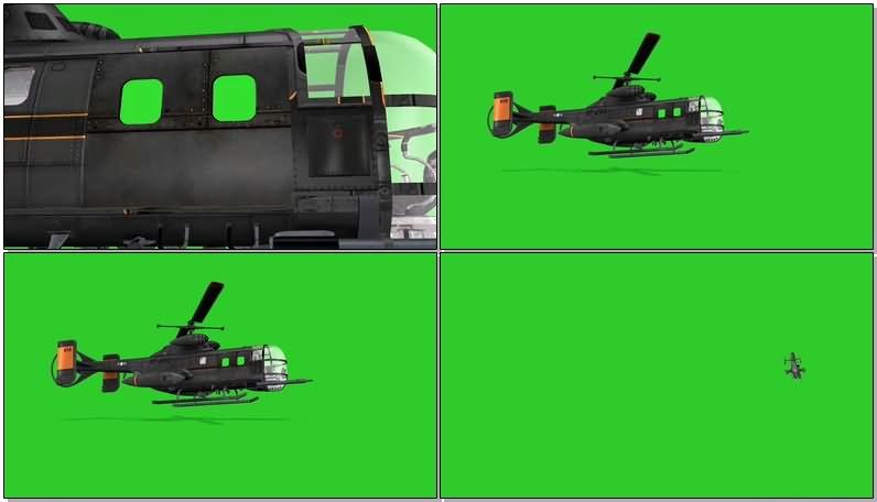 绿屏幕抠像武装直升机视频素材
