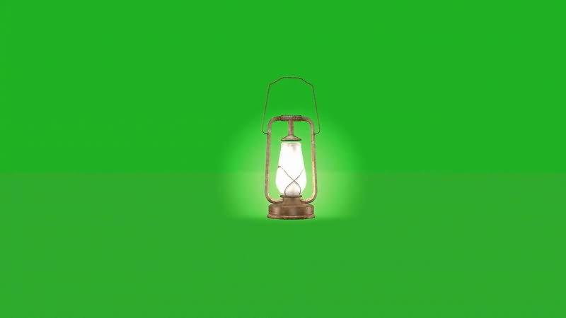 绿屏幕抠像煤油灯视频素材