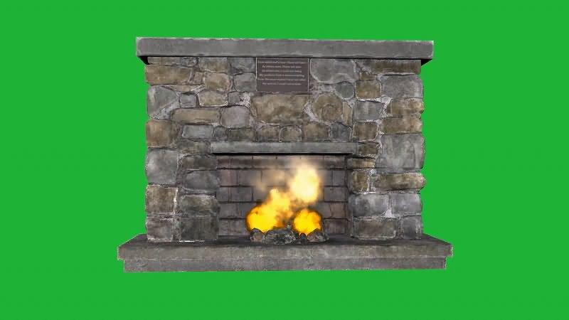 绿屏幕抠像壁炉视频素材