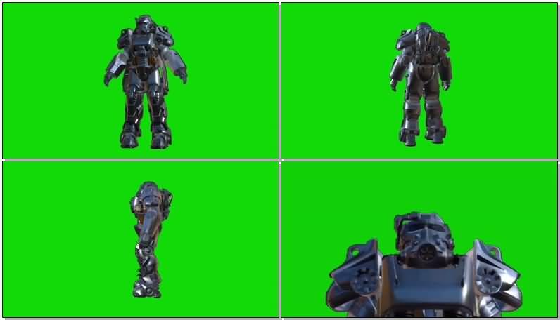 绿屏幕抠像金属护甲服视频素材