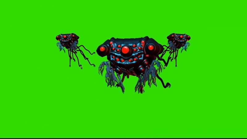 绿屏幕抠像机器水母视频素材