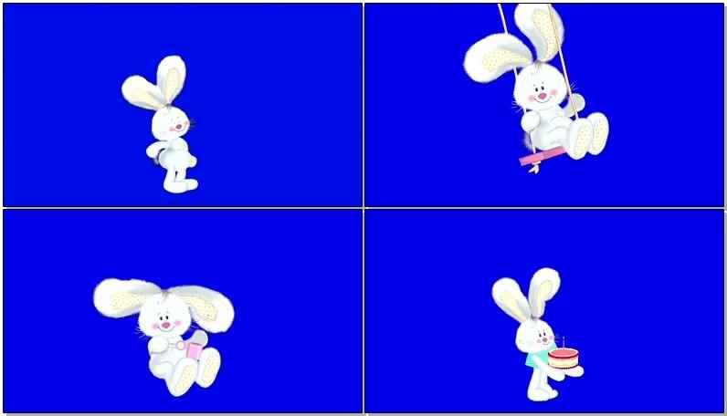 绿屏幕抠像可爱小白兔视频素材