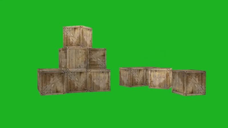 绿屏抠像视频素材木箱