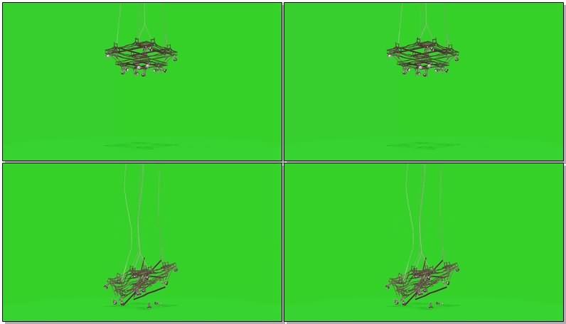 绿屏抠像视频素材铁架顶灯