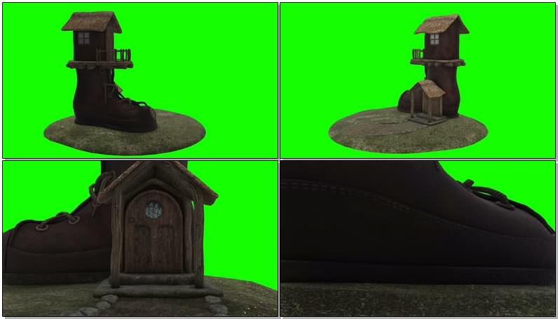 绿屏抠像视频素材童话靴子小屋