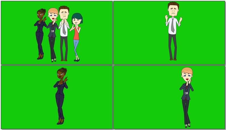 绿屏抠像视频素材鼓掌的人群