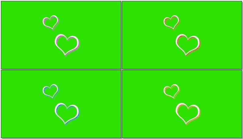 绿屏抠像视频素材卡通爱心