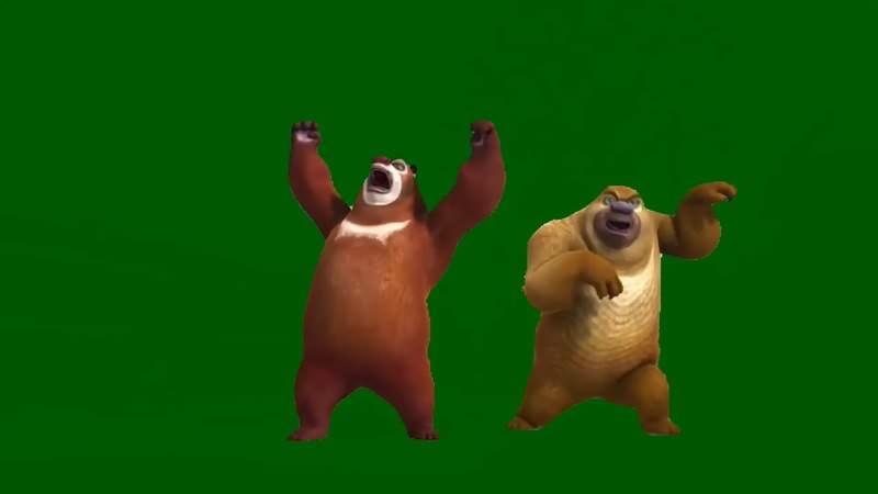绿屏抠像视频素材熊大熊二