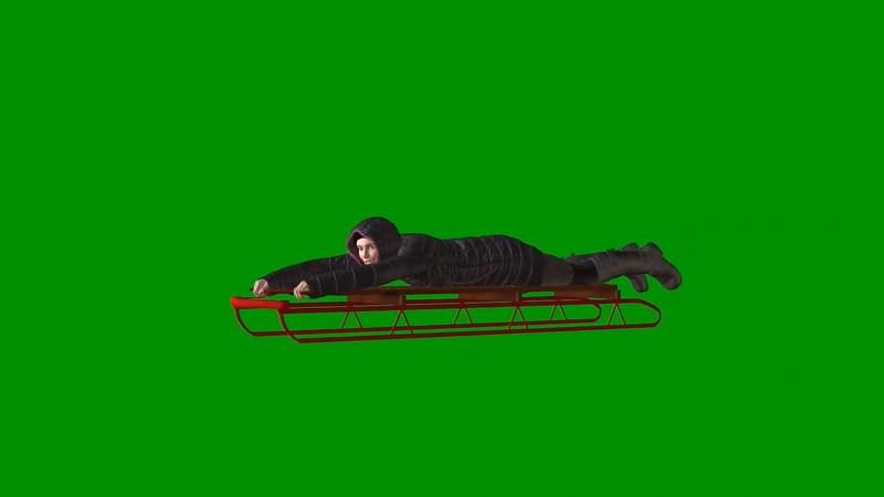 绿屏抠像视频素材雪橇女