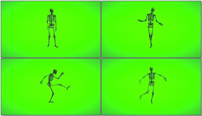 绿屏抠像视频素材骷髅骨架
