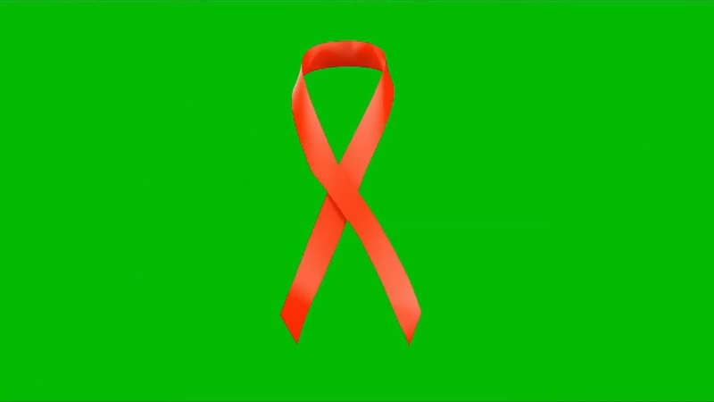 绿幕抠像视频素材艾滋病红丝带