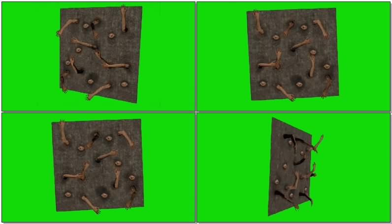绿幕抠像视频素材恐怖僵尸墙