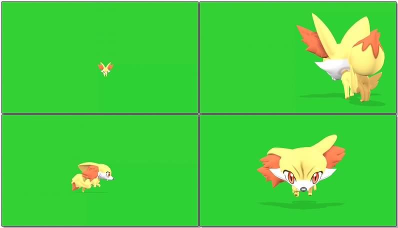 绿幕抠像视频素材口袋妖怪火狐狸