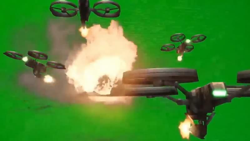 绿幕视频素材无人机攻击