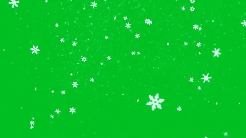 绿幕视频素材雪花