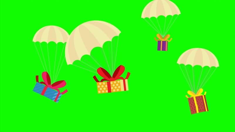 绿幕视频素材降落伞礼品盒