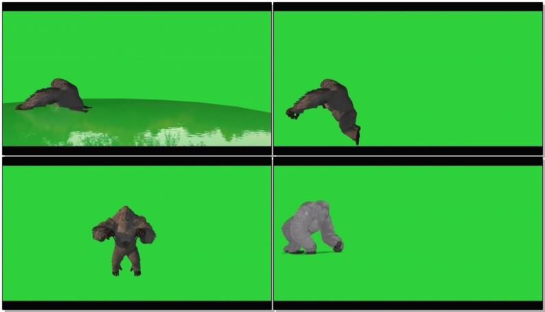 绿幕视频素材雪山巨人