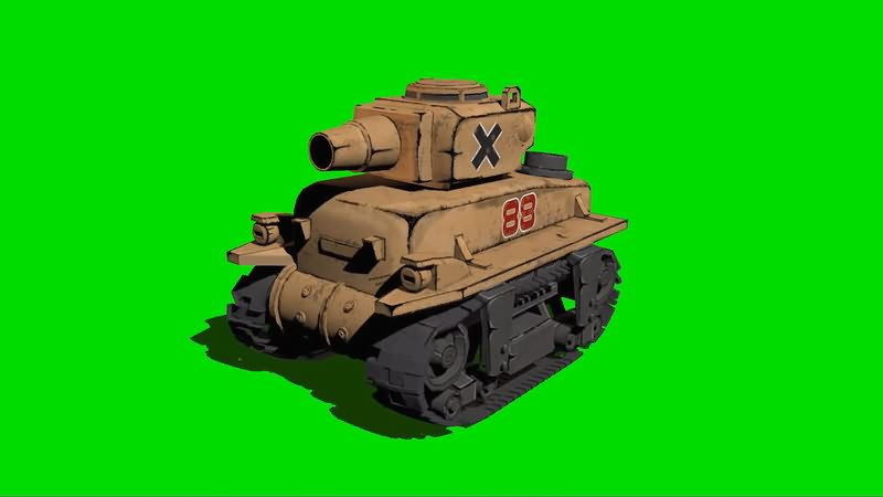绿幕视频素材合金弹头坦克