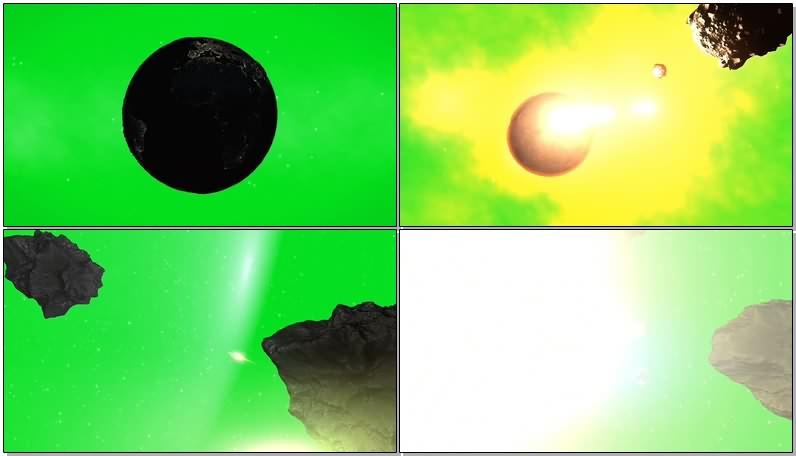 绿幕视频素材陨石地球