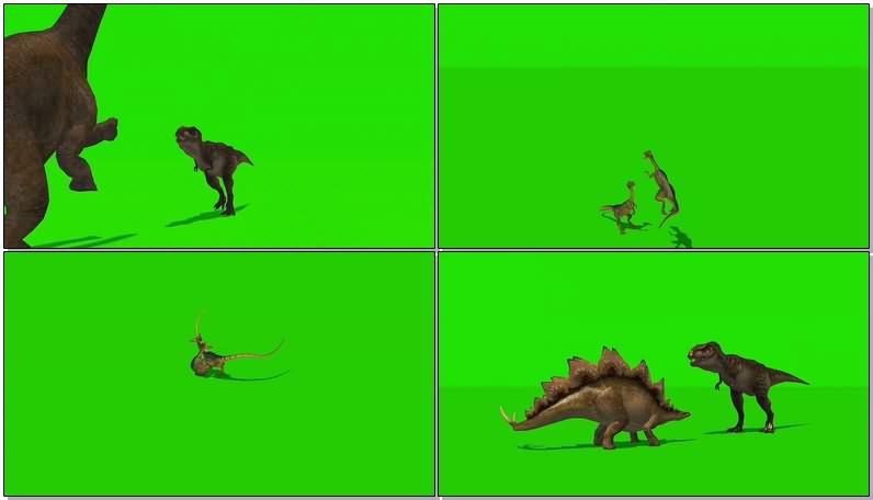 绿幕视频素材战斗的恐龙