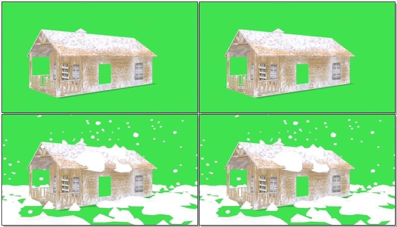 绿幕视频素材白雪小屋