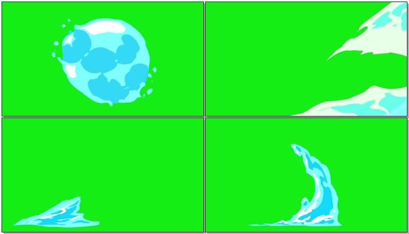 绿幕视频素材卡通水滴