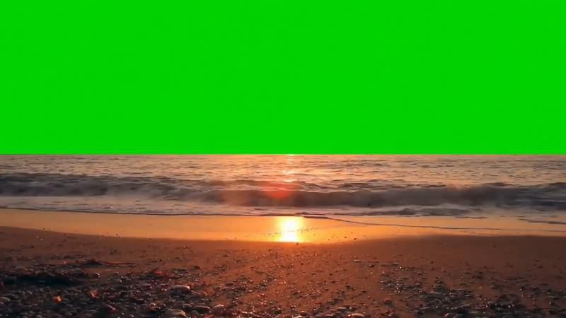 绿幕视频素材夕阳海滩