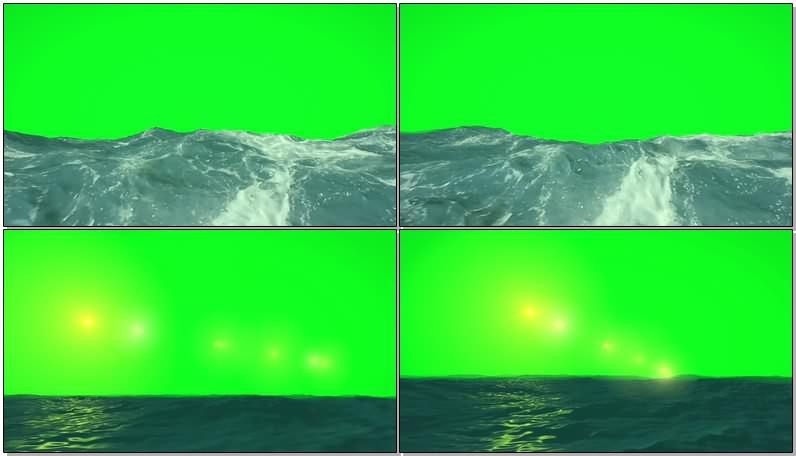 绿幕视频素材大海