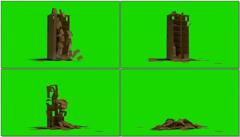 绿幕视频素材倒塌的箱子