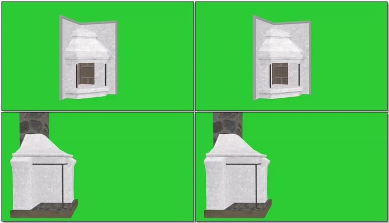 绿幕视频素材壁炉