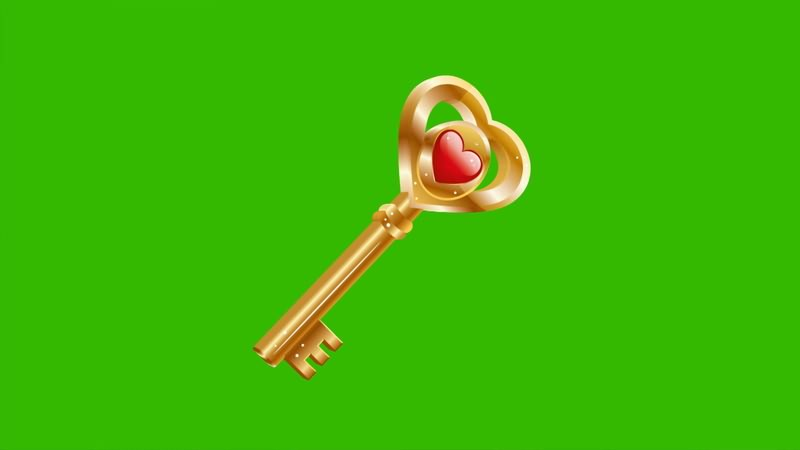 绿幕视频素材爱心钥匙
