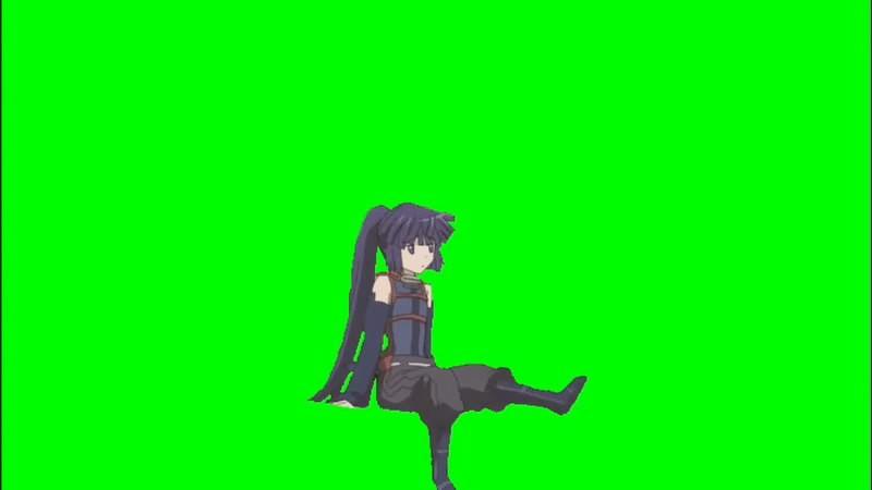 绿幕视频素材卡通妹子