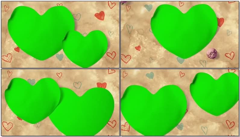 绿幕视频素材爱心相框