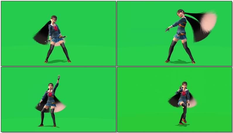 绿幕视频素材跳舞动漫女孩