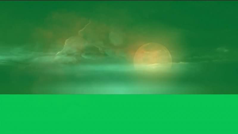 绿幕视频素材圆月