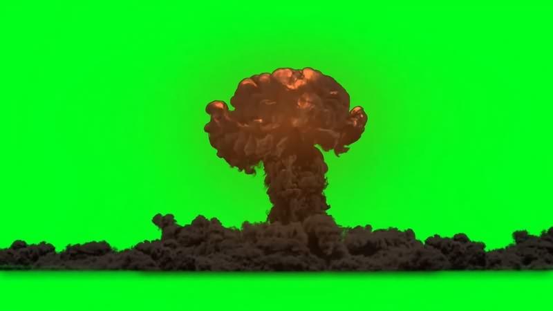 绿幕视频素材爆炸黑烟