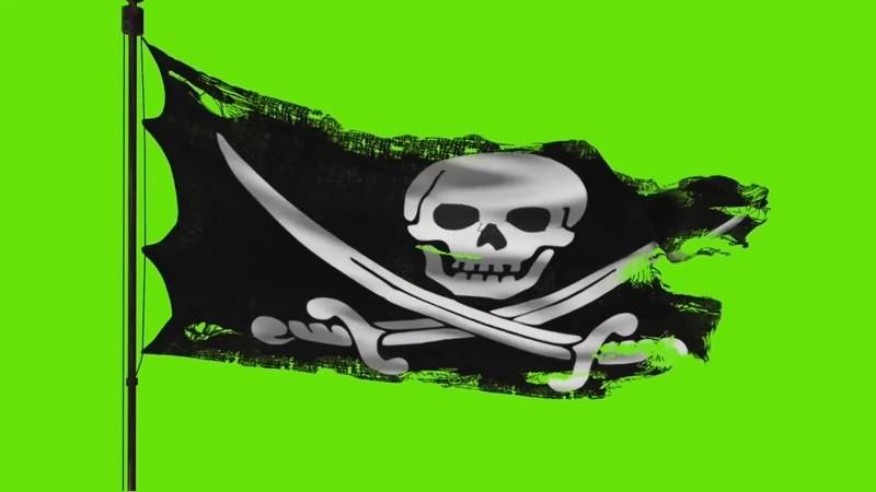 绿幕视频素材海盗旗