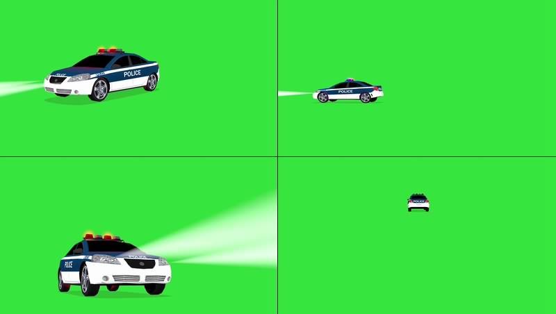 绿幕视频素材警车