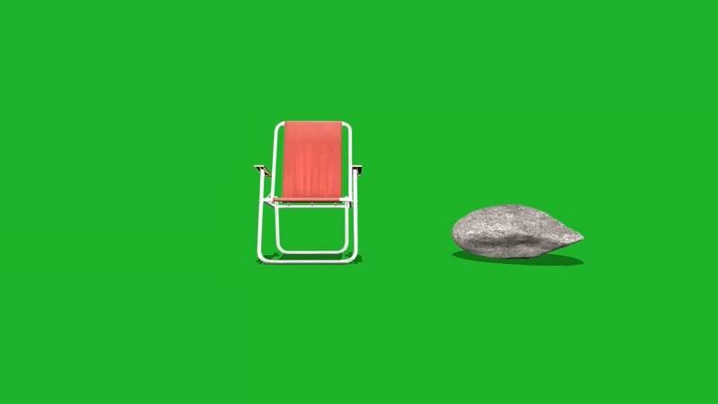绿幕视频素材沙滩椅岩石