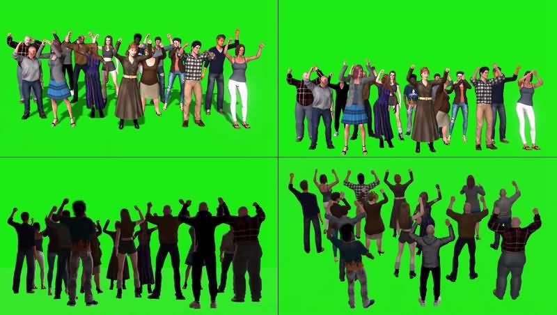 绿幕视频素材欢呼人群