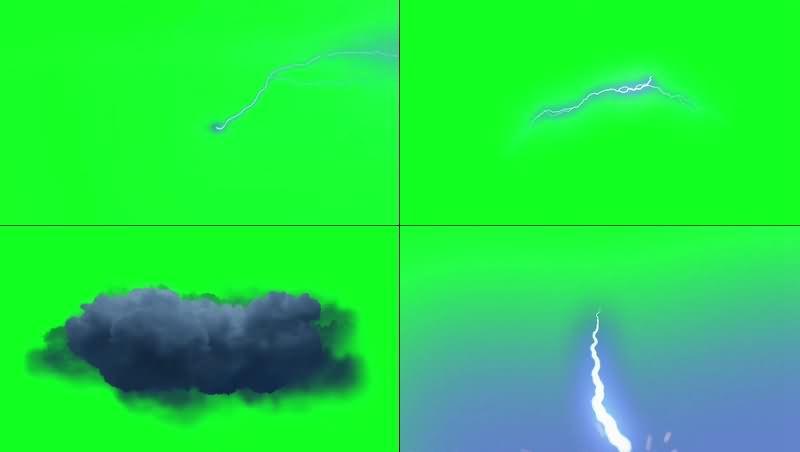 绿幕视频素材闪电
