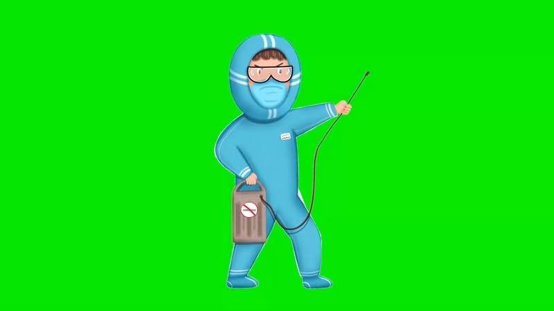 绿幕视频素材消毒员