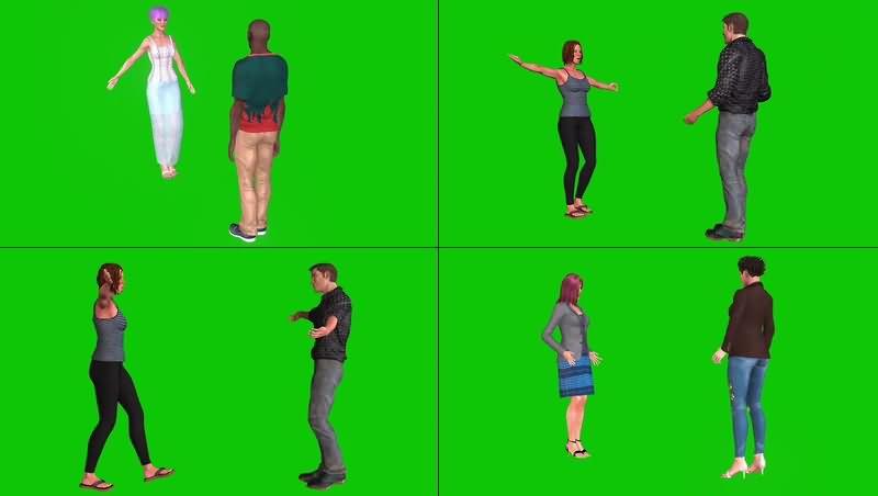 绿幕视频素材人物拥抱