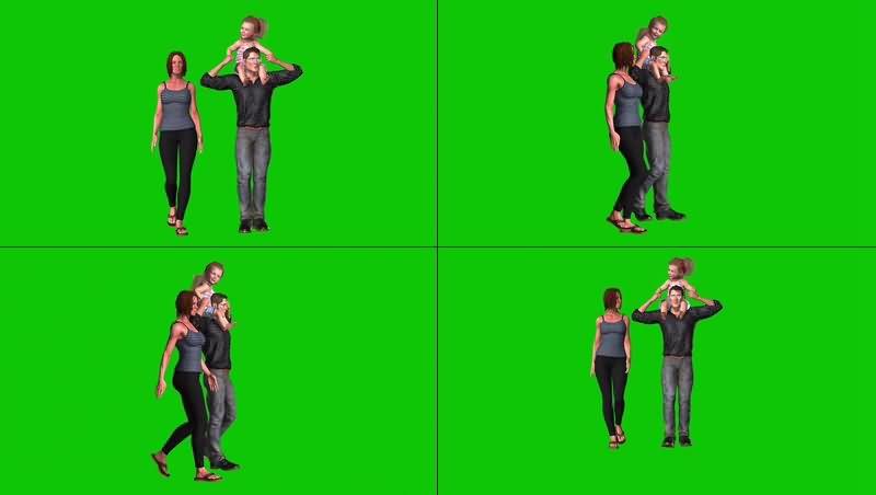 绿幕视频素材一家三口
