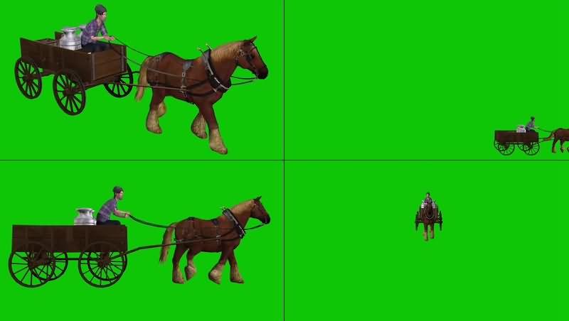 绿幕视频素材马车