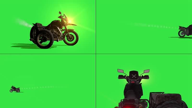 绿幕视频素材跨斗摩托